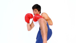 Man practising his boxing Footage