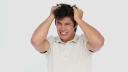 Man tearing his hair Footage