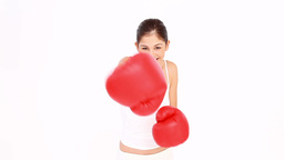 Woman boxing Footage