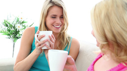 Two blonde friends drinking a coffee together Footage