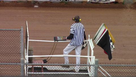 1694 Man Waving Checker Flag Footage