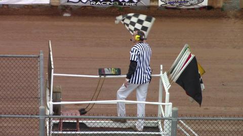 1694 Man Waving Checker Flag Stock Video Footage