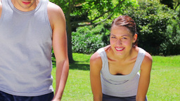 Smiling couple jogging together Stock Video Footage