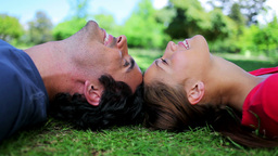 Smiling couple lying together on the grass Footage