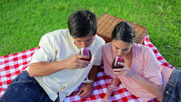 Smiling couple drinking red wine Live Action