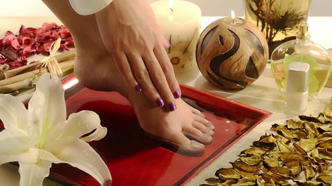 aromatic relaxing foot bath Footage
