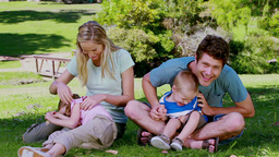 Parents tickling their children Footage