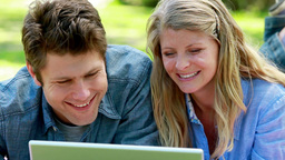 Couple using a computer Footage