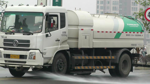 Road Cleaner Truck Sichuan China 2 handheld Footage