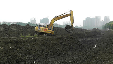Riverbank Construction Sichuan China 1 Machine stock footage