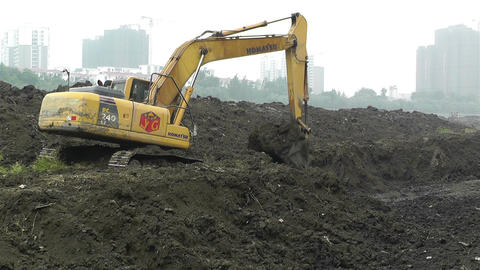 Riverbank Construction Sichuan China 2 machine Footage