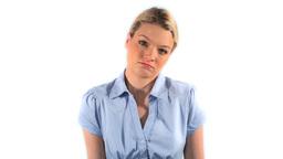 Blonde woman shrugging Stock Video Footage
