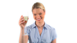 Blonde woman drinking white wine Footage