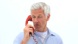 Mature Man Using His Phone stock footage