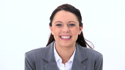 Brunette woman showing her happiness Footage