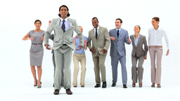 Smiling business people jumping Stock Video Footage