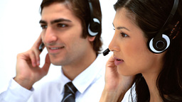 Business people using headsets Footage