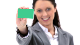Brunette woman holding a business card Footage
