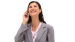Happy woman talking on the phone Stock Video Footage