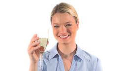 Blonde woman drinking wine Footage