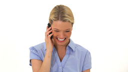 Smiling woman using her cellphone Stock Video Footage