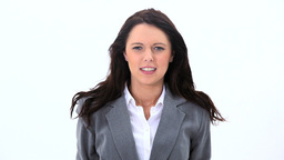 Brunette businesswoman pulling her hair Footage