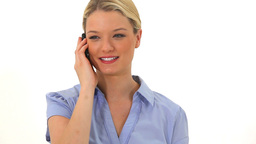 Blonde woman talking on the phone Footage
