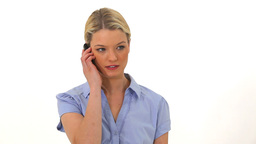 Upset blonde woman on the phone Stock Video Footage