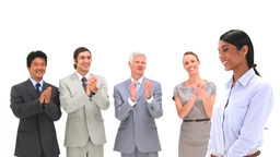 Businesswoman being congratulated Footage