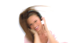 Young woman dancing with headphones Footage