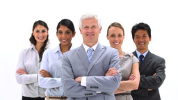 Smiling business team posing Stock Video Footage