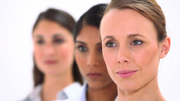 Smiling women looking away Stock Video Footage