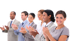 Welldressed people applauding Stock Video Footage
