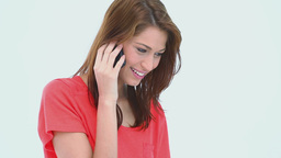 Brunette haired woman on the phone Stock Video Footage