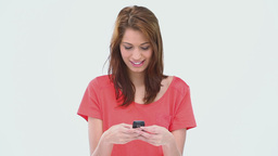 Brunette haired woman writing a text message Footage