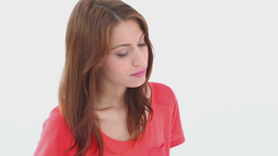 Young brunette haired woman pouting Footage