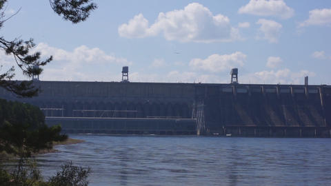 Krasnoyarsk Dam pan right Stock Video Footage