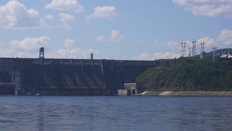 Krasnoyarsk Dam Pan Right stock footage