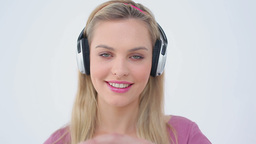 Happy blonde woman dancing Stock Video Footage