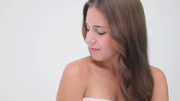 Cheerful brunette woman massaging her shoulder Footage