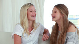 Smiling friends chatting together while sitting on Stock Video Footage