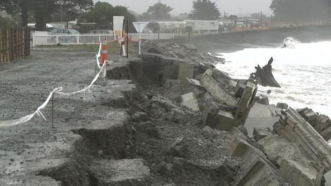 eroding coastal road Stock Video Footage