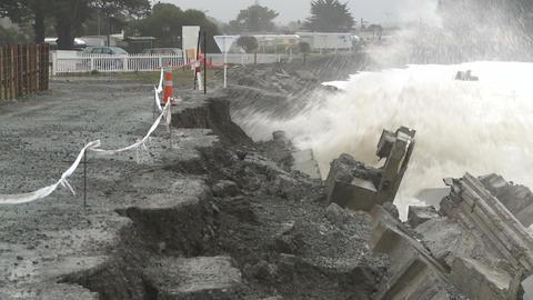 eroding coastal road Footage