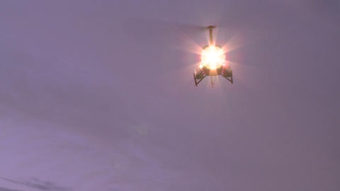 lights on a turning helicopter Footage
