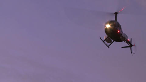 lights on a turning helicopter Stock Video Footage