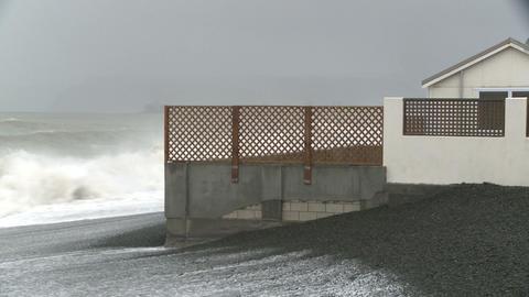 sea swell pounds coastal property Stock Video Footage