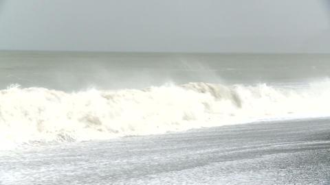 waves pound coastal property Stock Video Footage