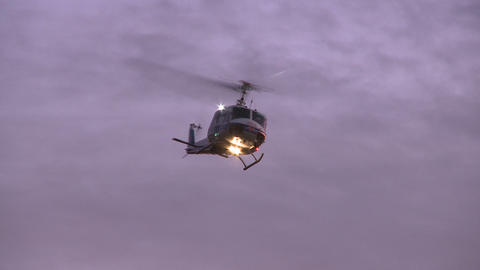 helicopter turns at sunrise Footage