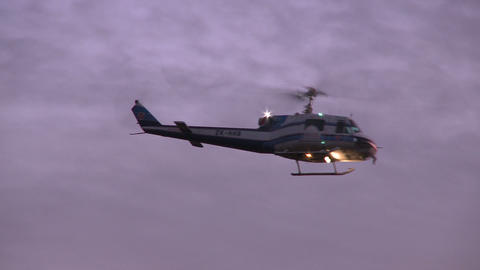 helicopter turns at sunrise Stock Video Footage