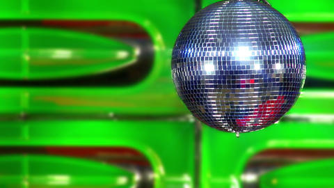 disco mirror ball green slowly Stock Video Footage
